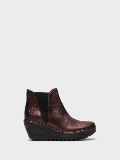 Fly London Maroon Chelsea Ankle Boots