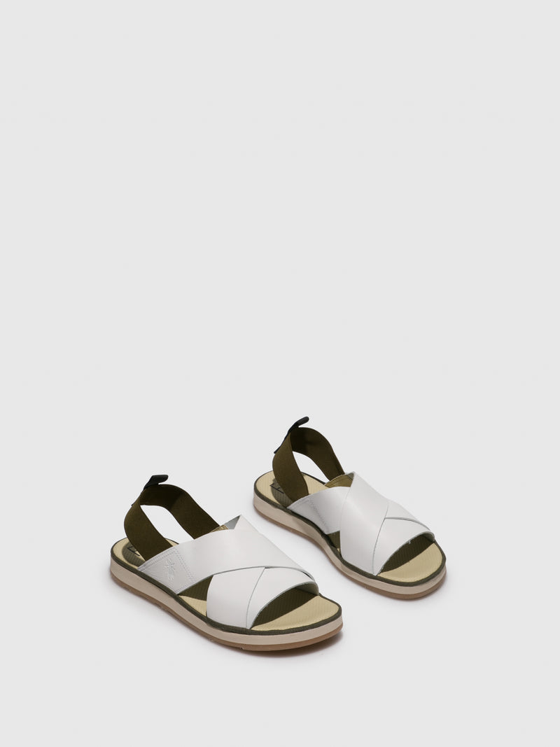 White Crossover Sandals
