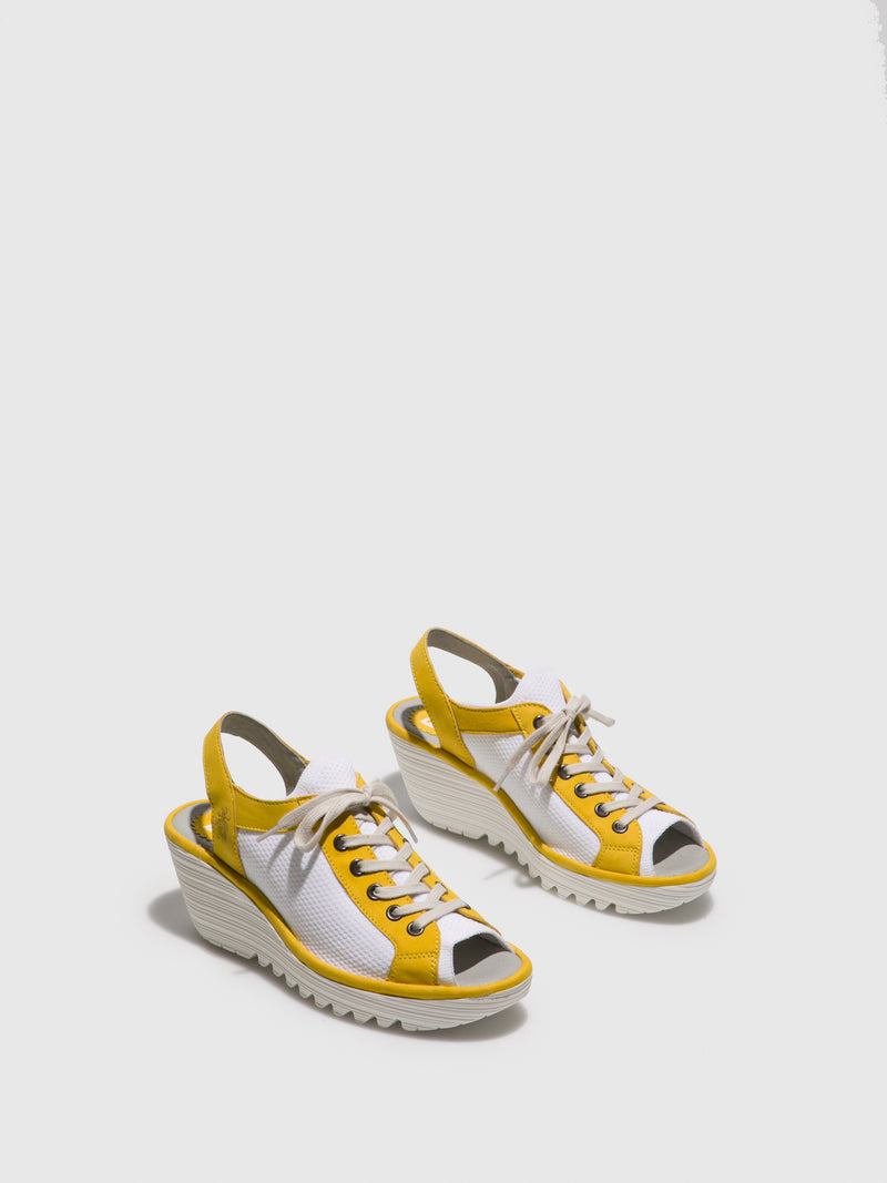 Yellow Lace-up Sandals