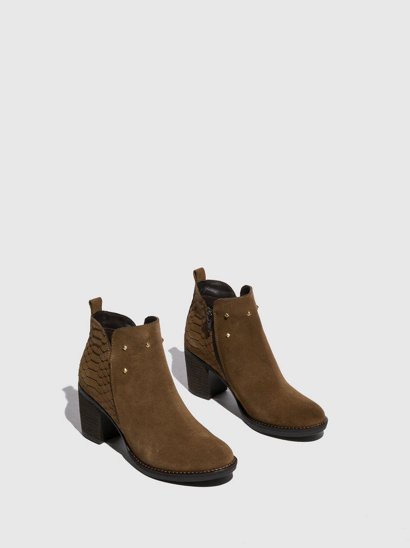 Foreva Tan Round Toe Ankle Boots