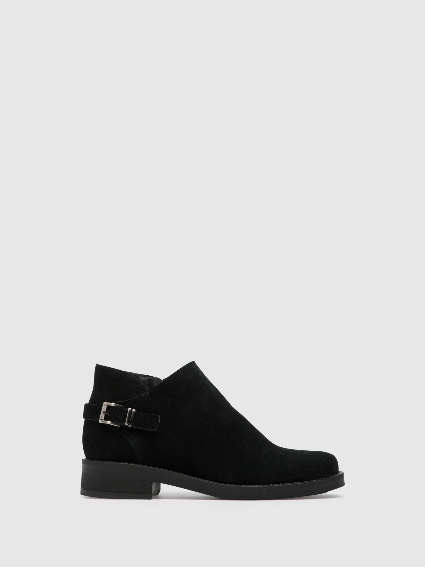 Foreva Black Suede Zip up Ankle Boots