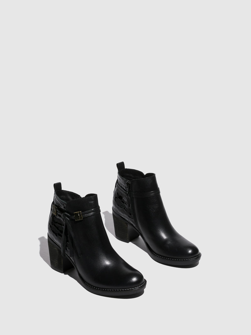 Foreva Black Round Toe Ankle Boots