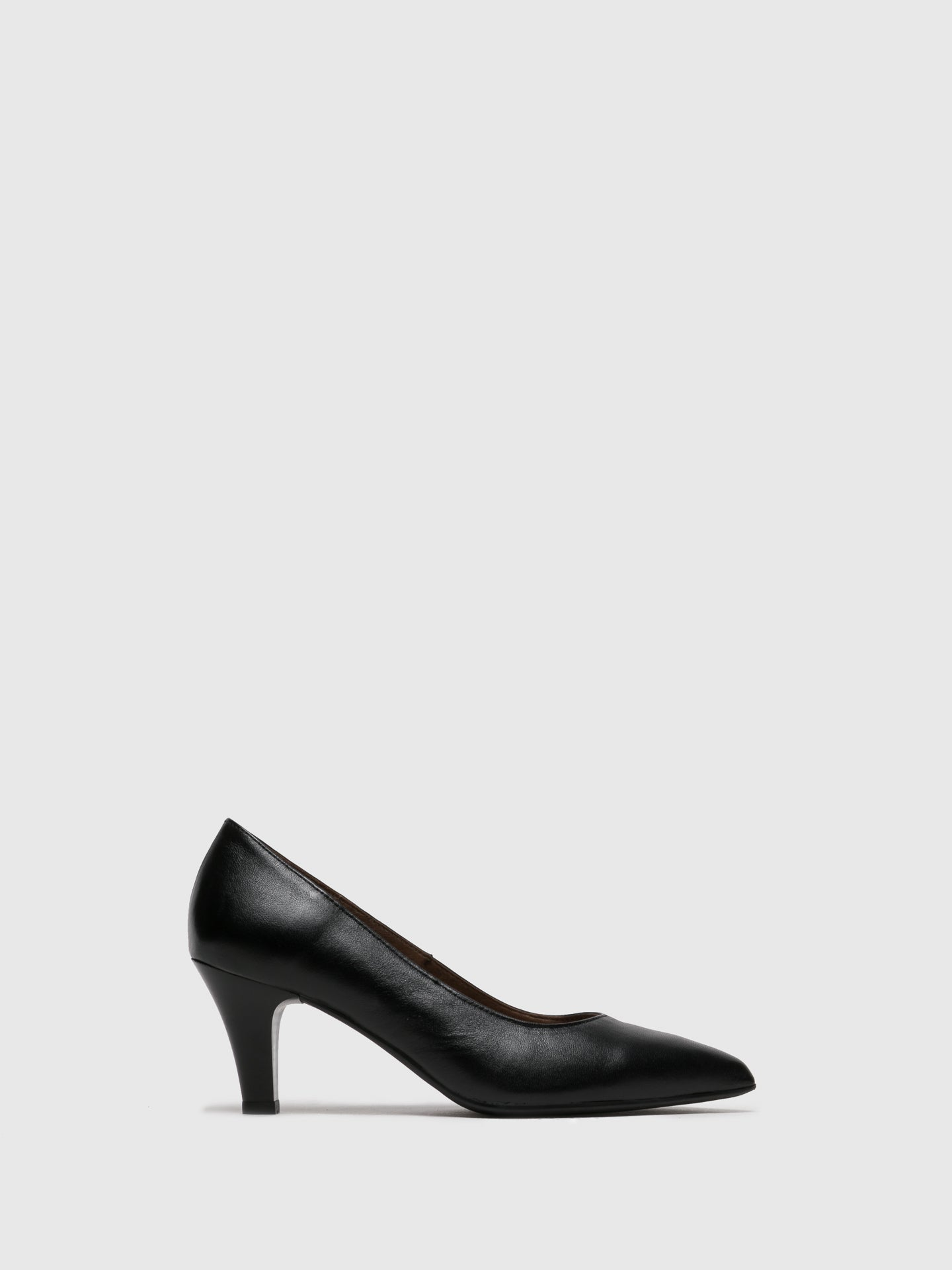 Foreva Black Leather Pointed Toe Pumps