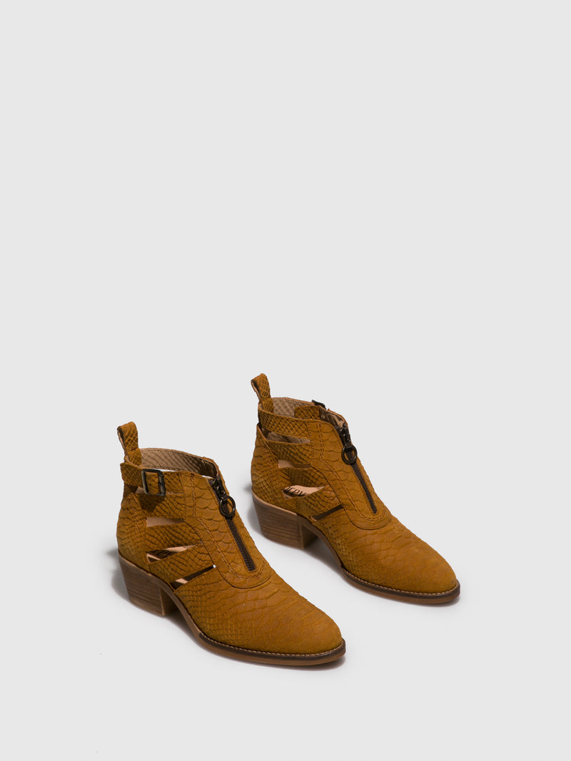 Camel Buckle Ankle Boots