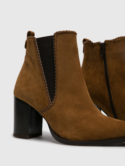Foreva Camel Zip Up Ankle Boots