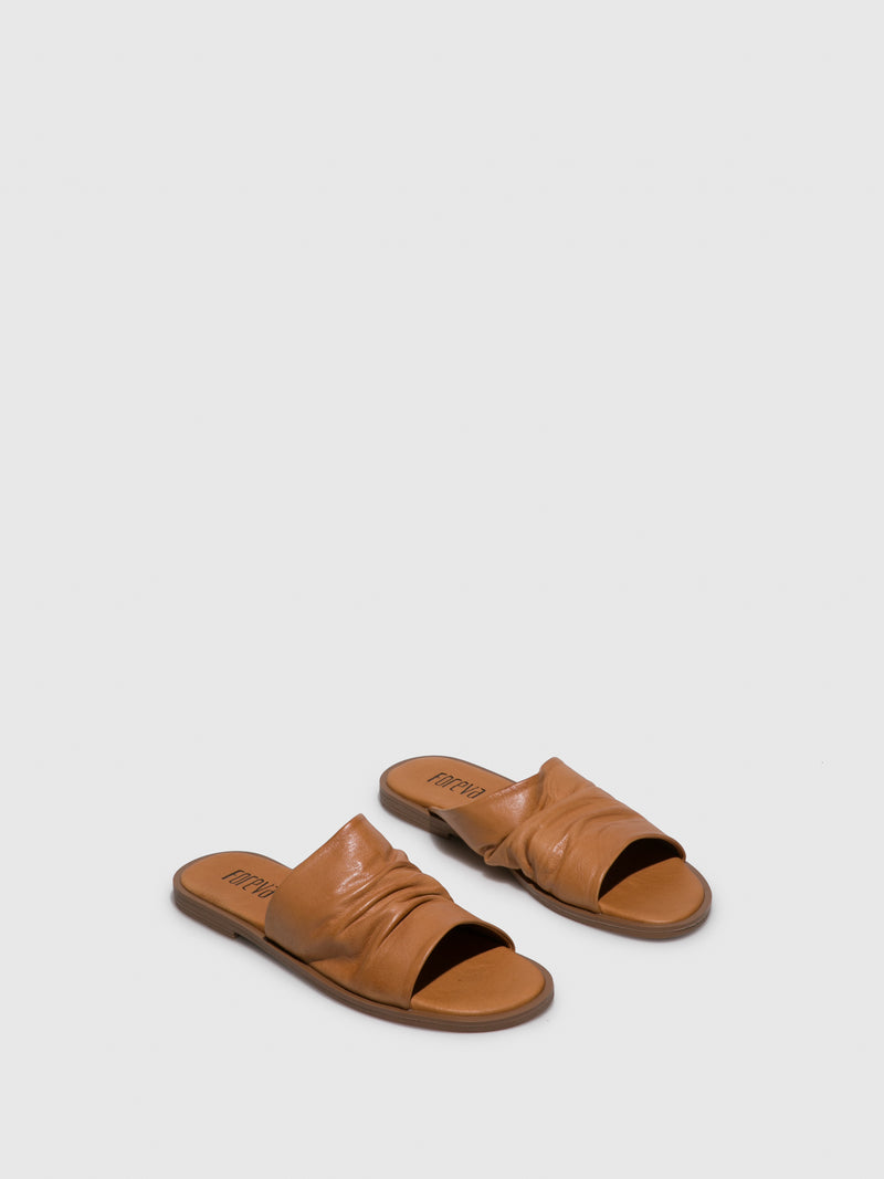 Brown Open Toe Mules