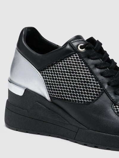 Foreva Silver Black Wedge Trainers