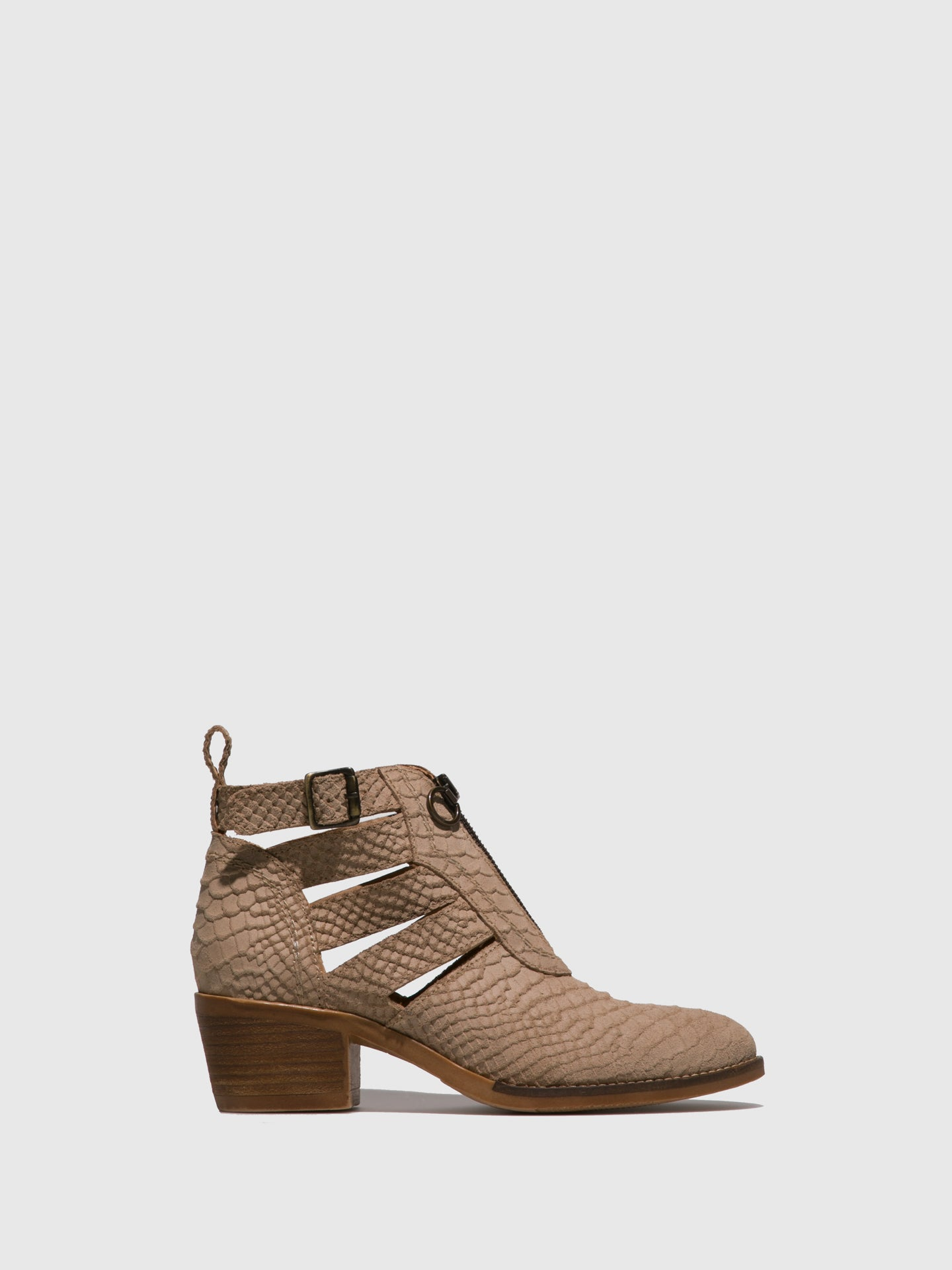 Foreva Beige Buckle Ankle Boots