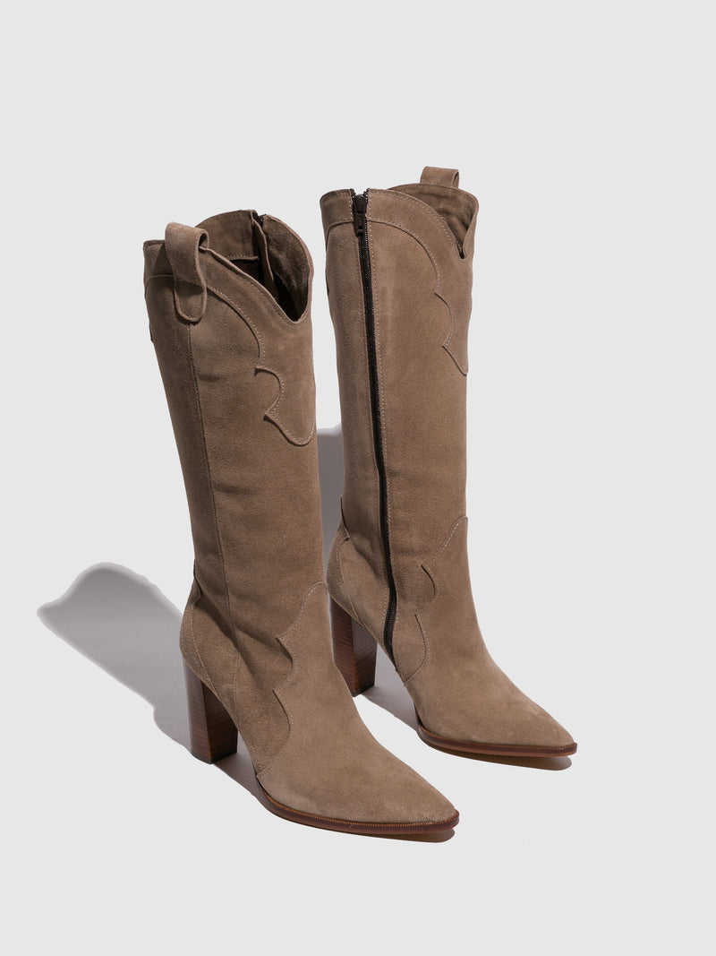 Beige Zip Up Boots