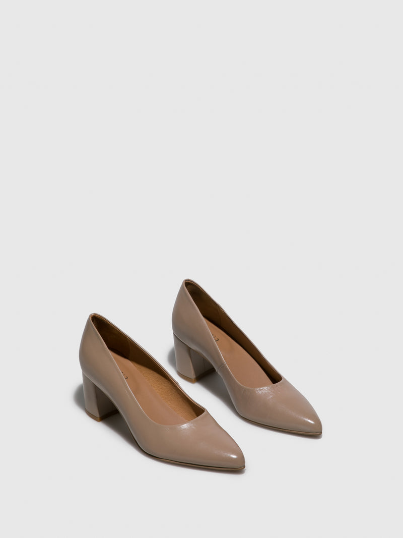 Beige Block Heel Shoes