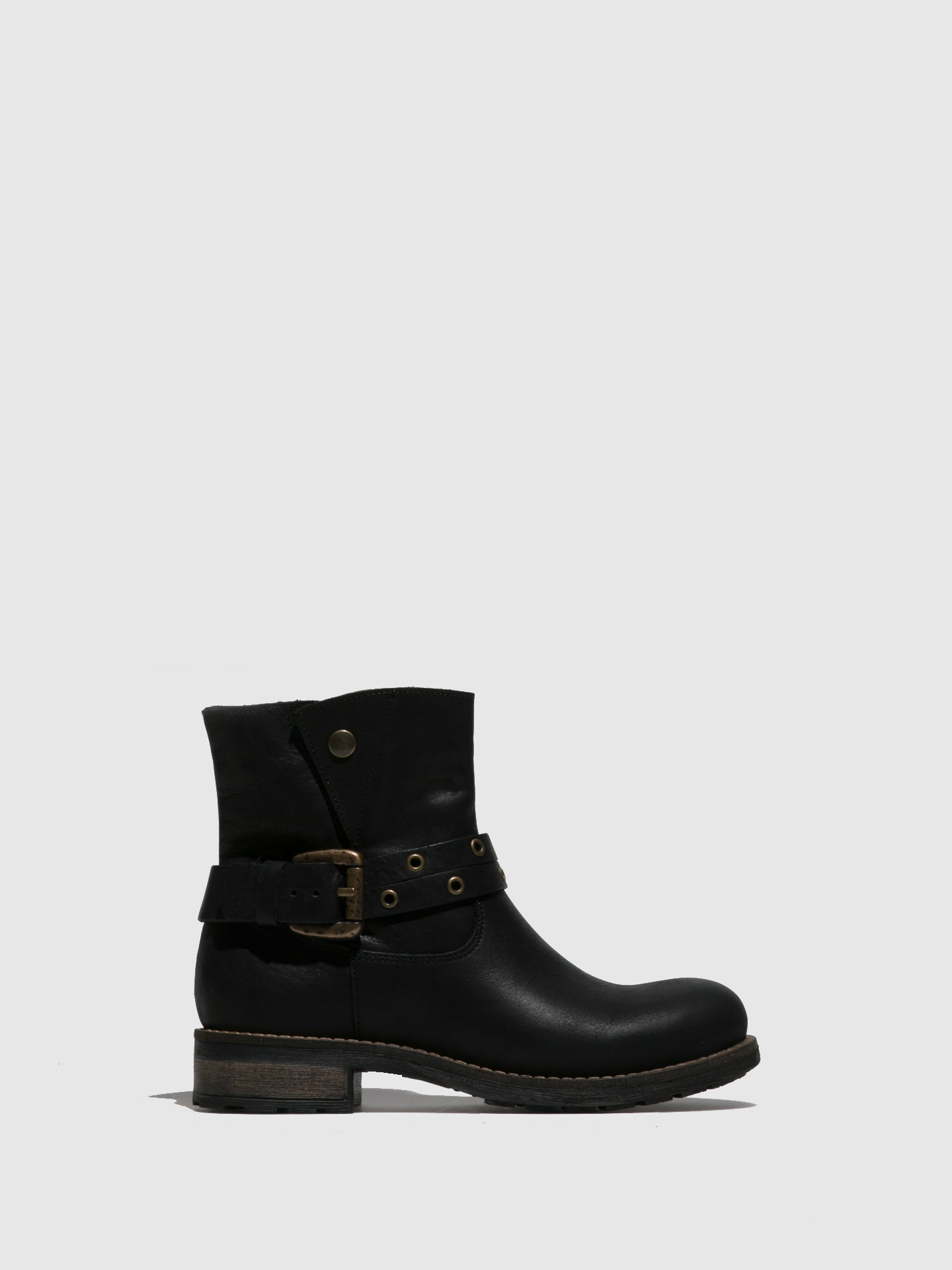 Fungi Black Buckle Ankle Boots