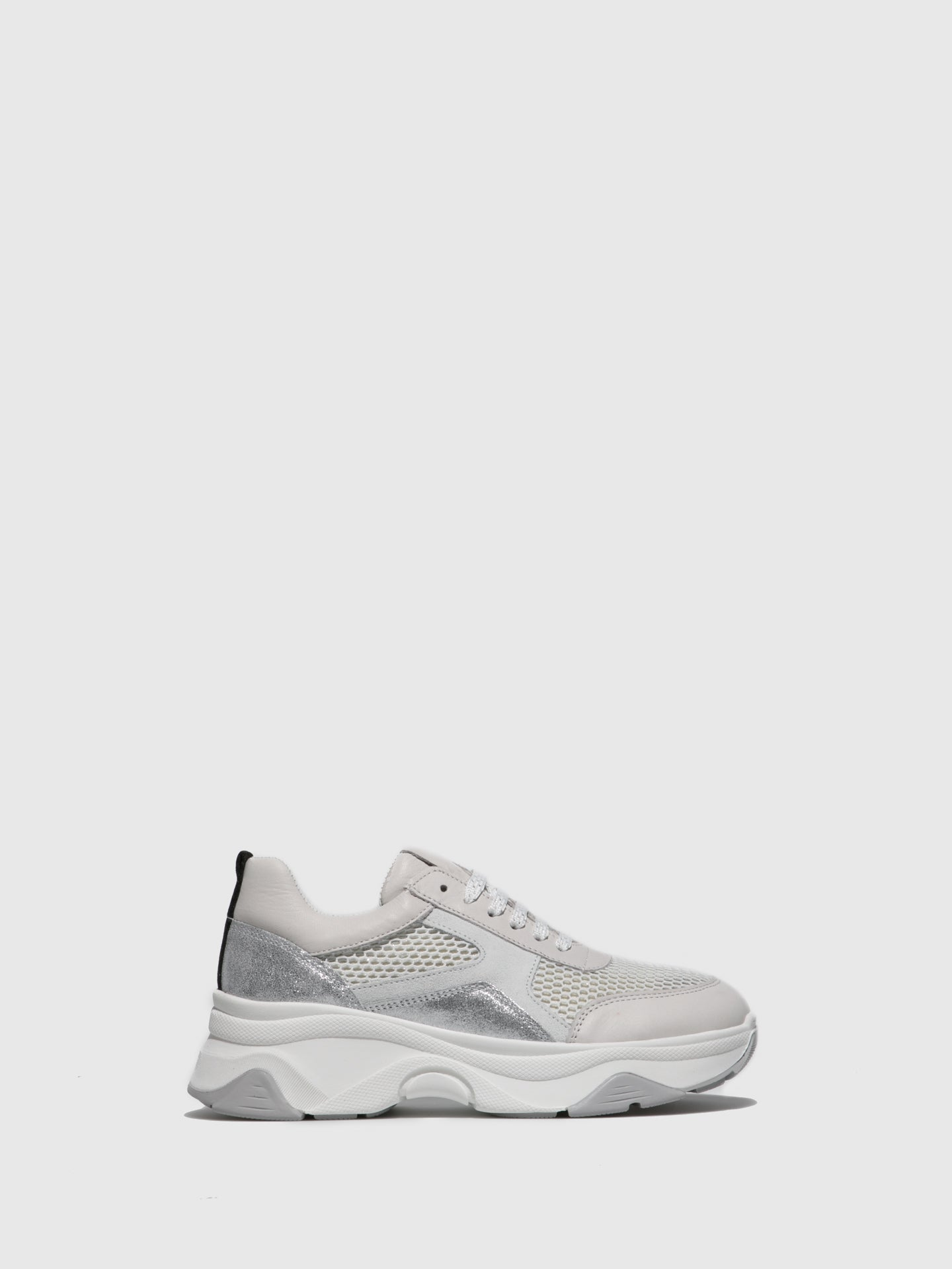 Fungi Silver White Wedge Trainers