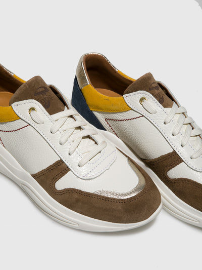 Fungi Brown White Lace-up Trainers