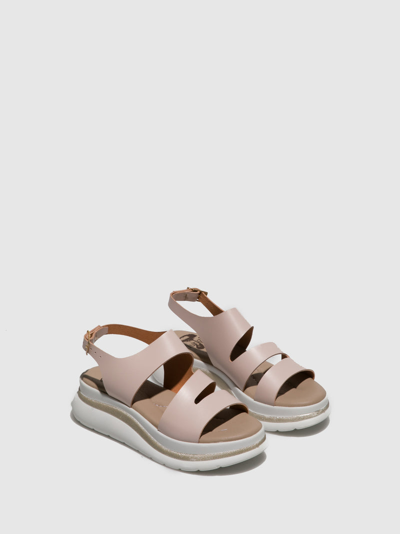 Fungi Pink Leather Open Toe Sandals