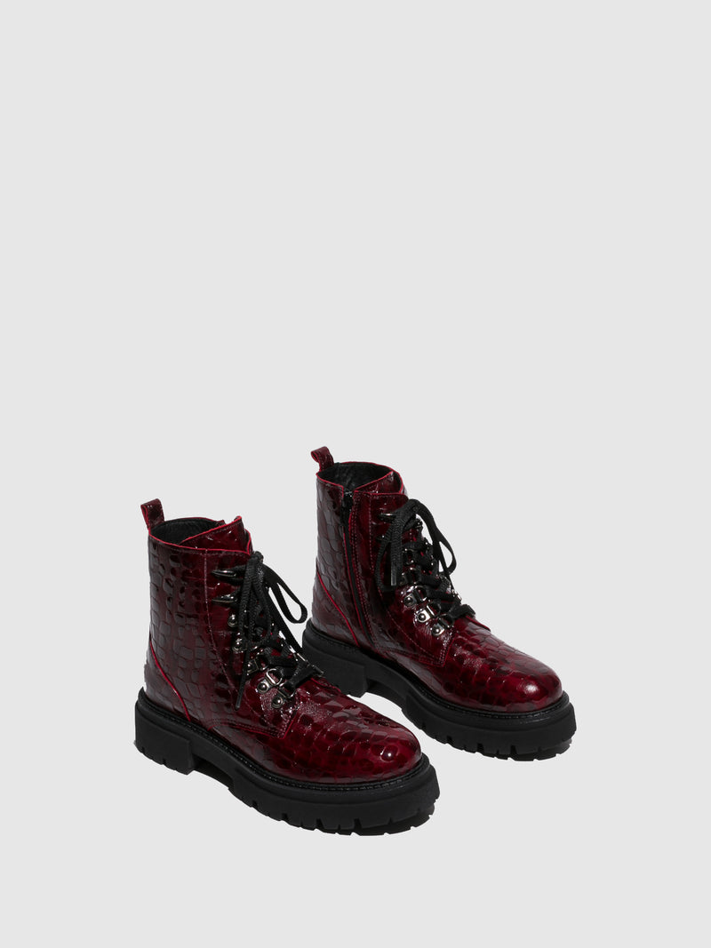 Crimson Lace-up Boots
