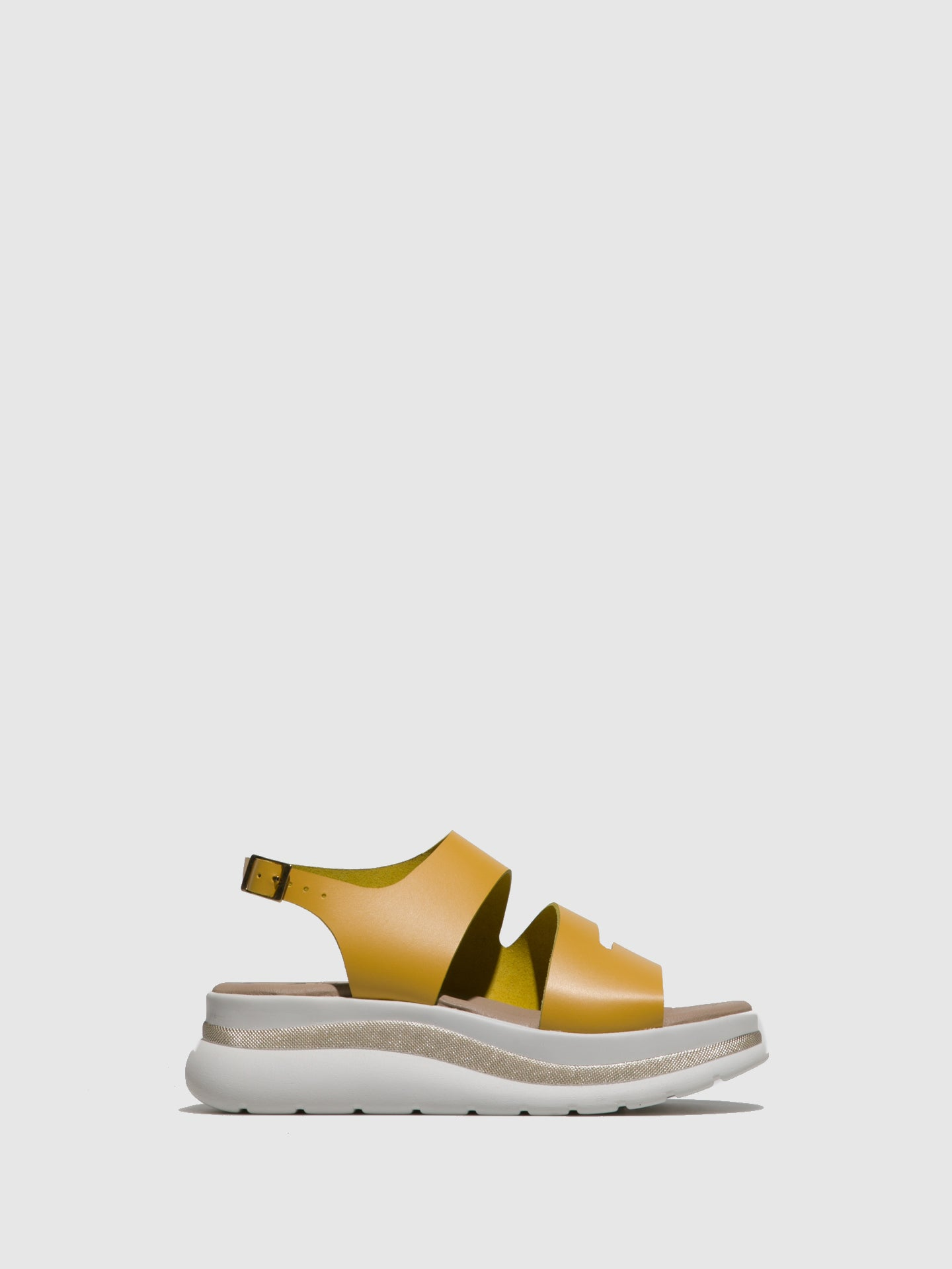 Fungi Yellow Leather Open Toe Sandals