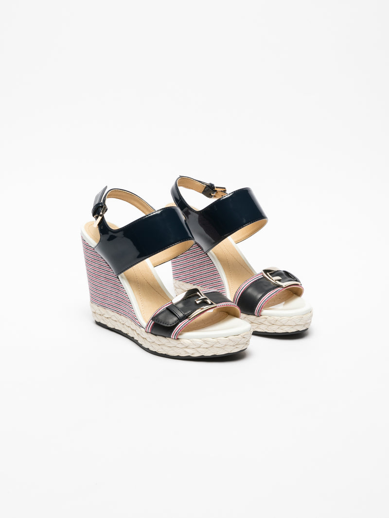 Geox Blue Wedge Sandals
