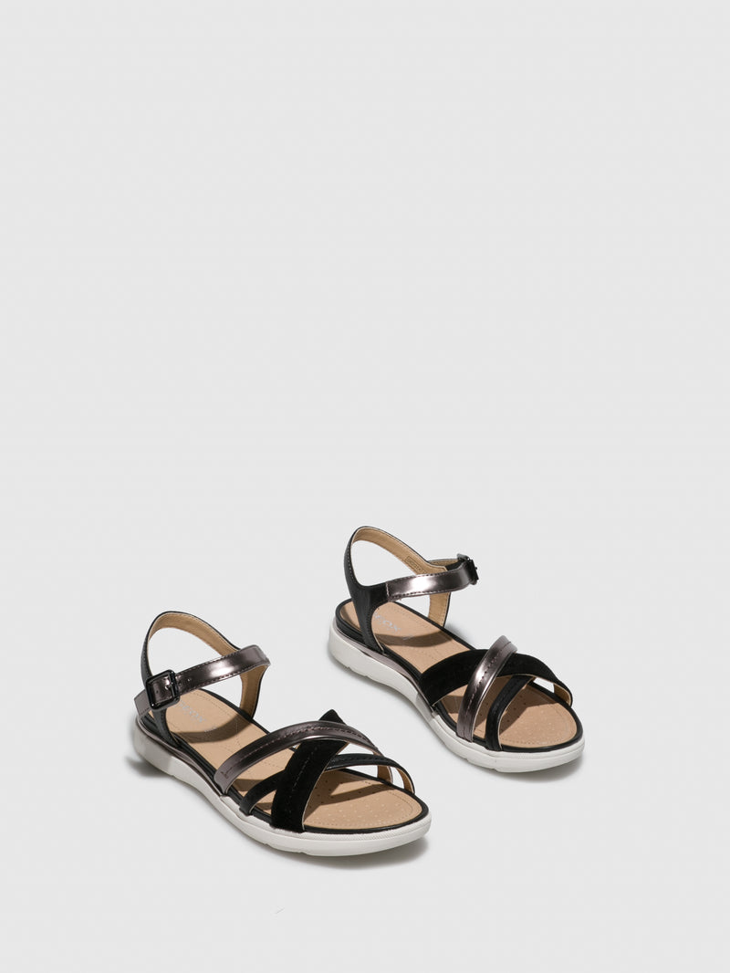 Geox Black Ankle Strap Sandals