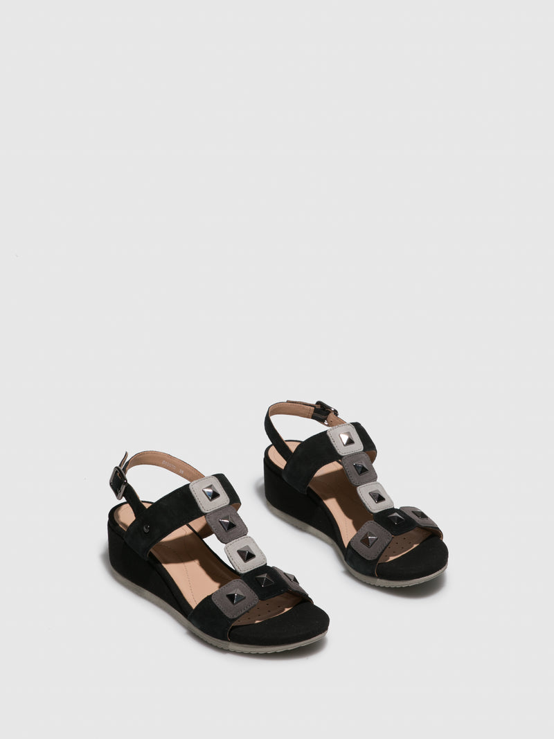 Geox Black Wedge Sandals