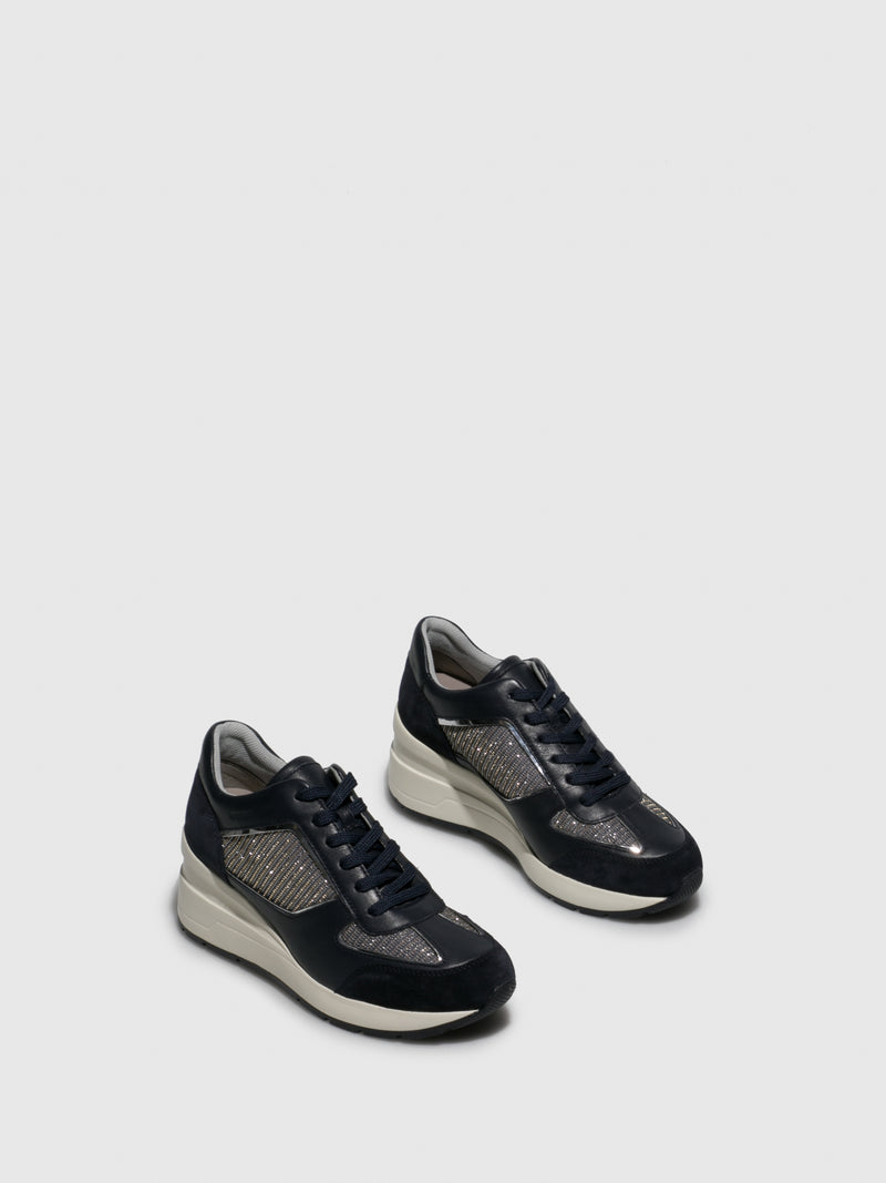Geox Navy Wedge Trainers