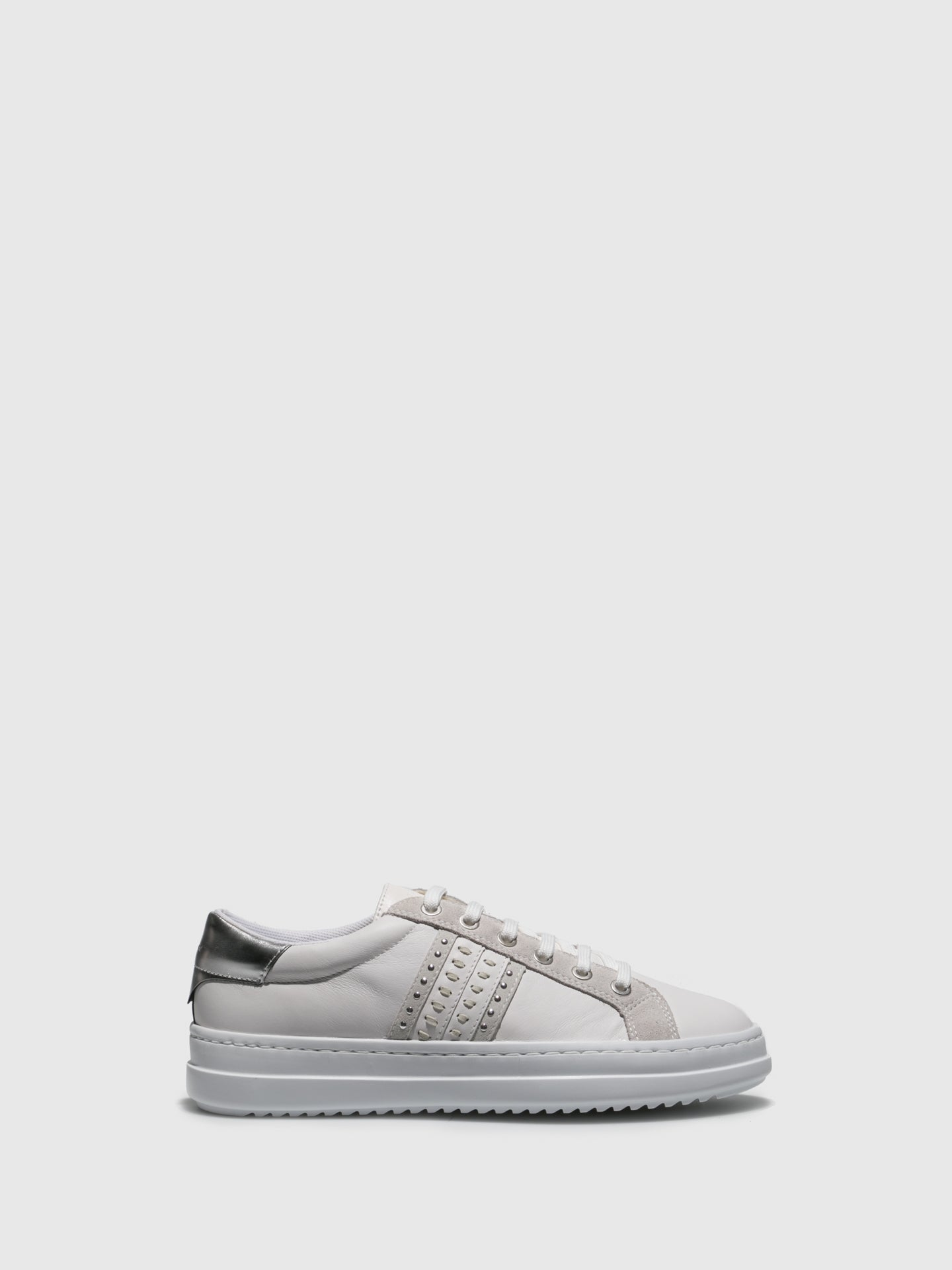 Geox Gray White Lace-up Trainers