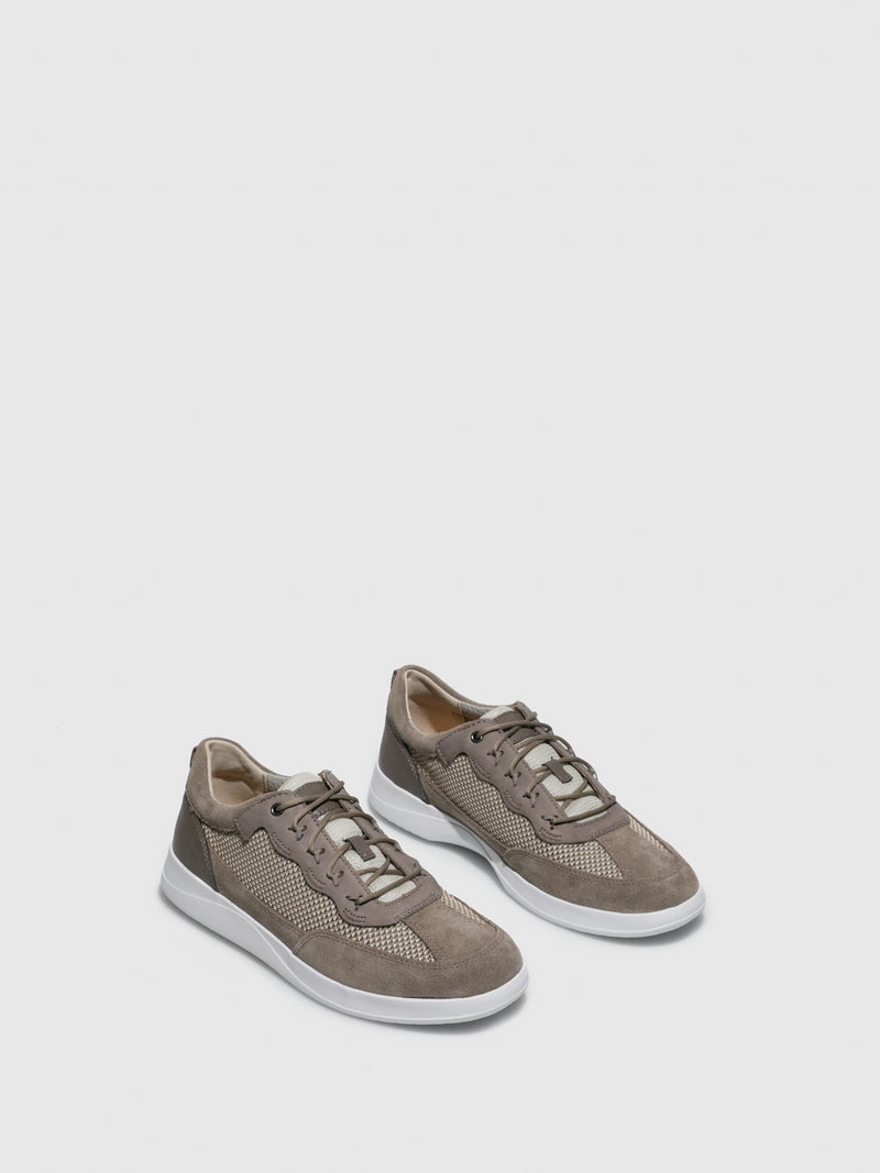Beige Lace-up Trainers