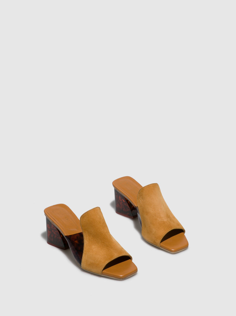 Camel Chunky Heel Mules