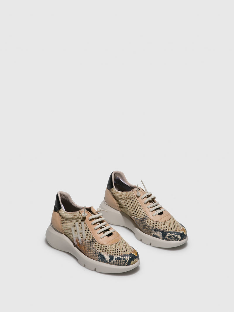 Hispanitas Beige Wedge Trainers