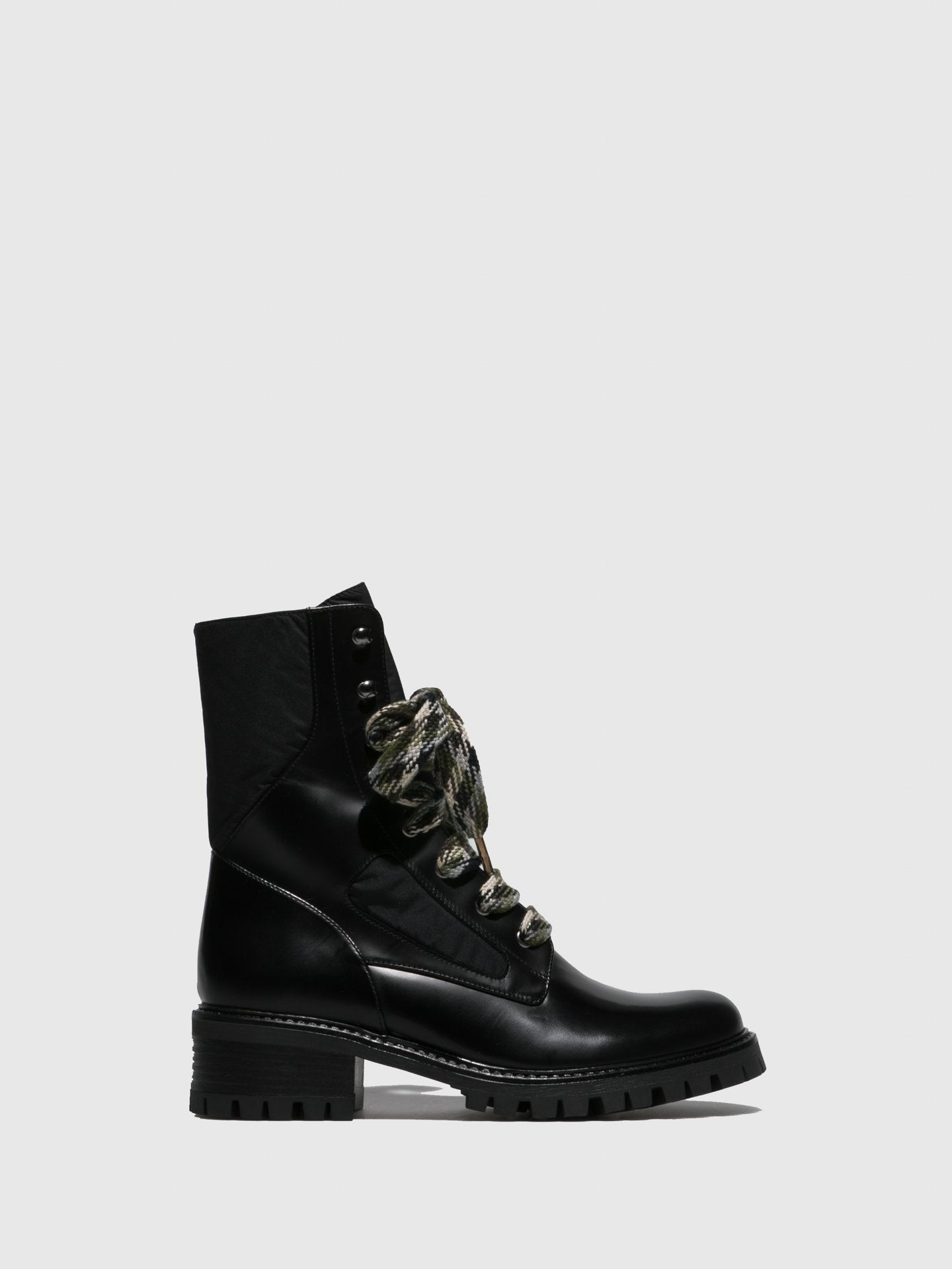 JJ Heitor Black Lace-up Ankle Boots