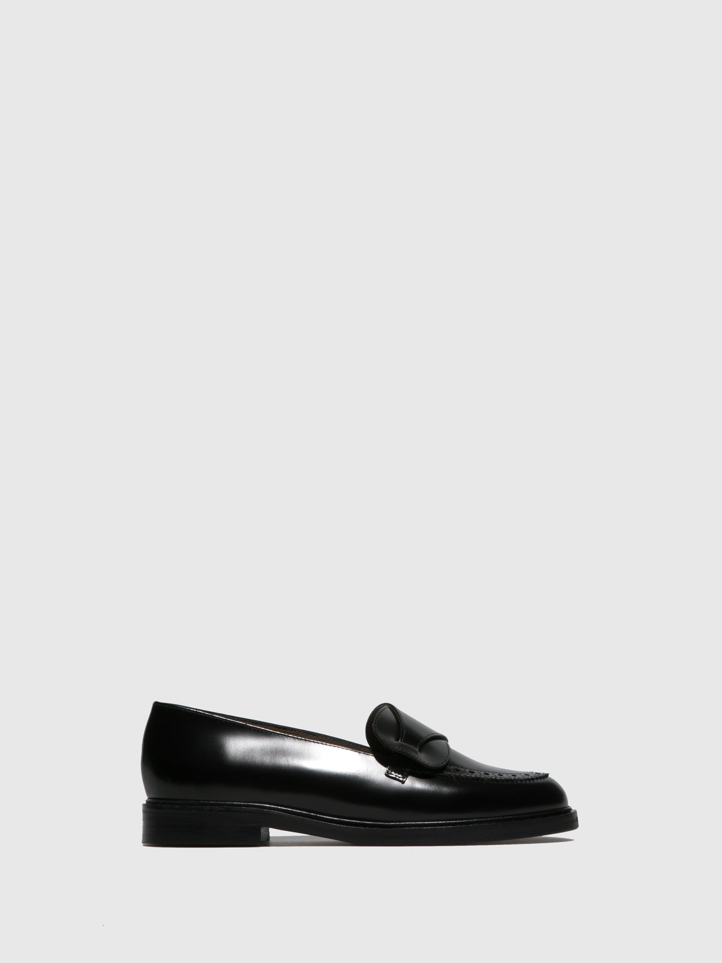 JJ Heitor Black Leather Loafers Shoes