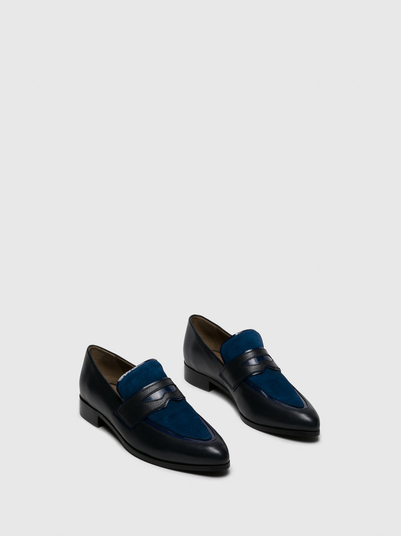 Navy Leather Loafers Shoes