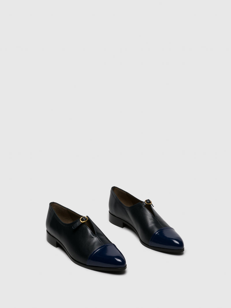 Navy Suede Pointed Toe Shoes