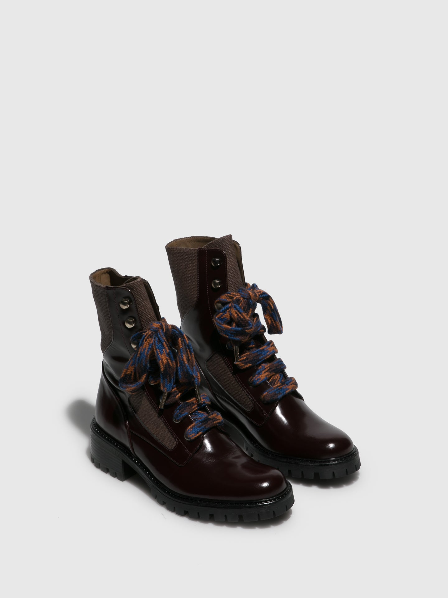 JJ Heitor DarkRed Lace-up Ankle Boots