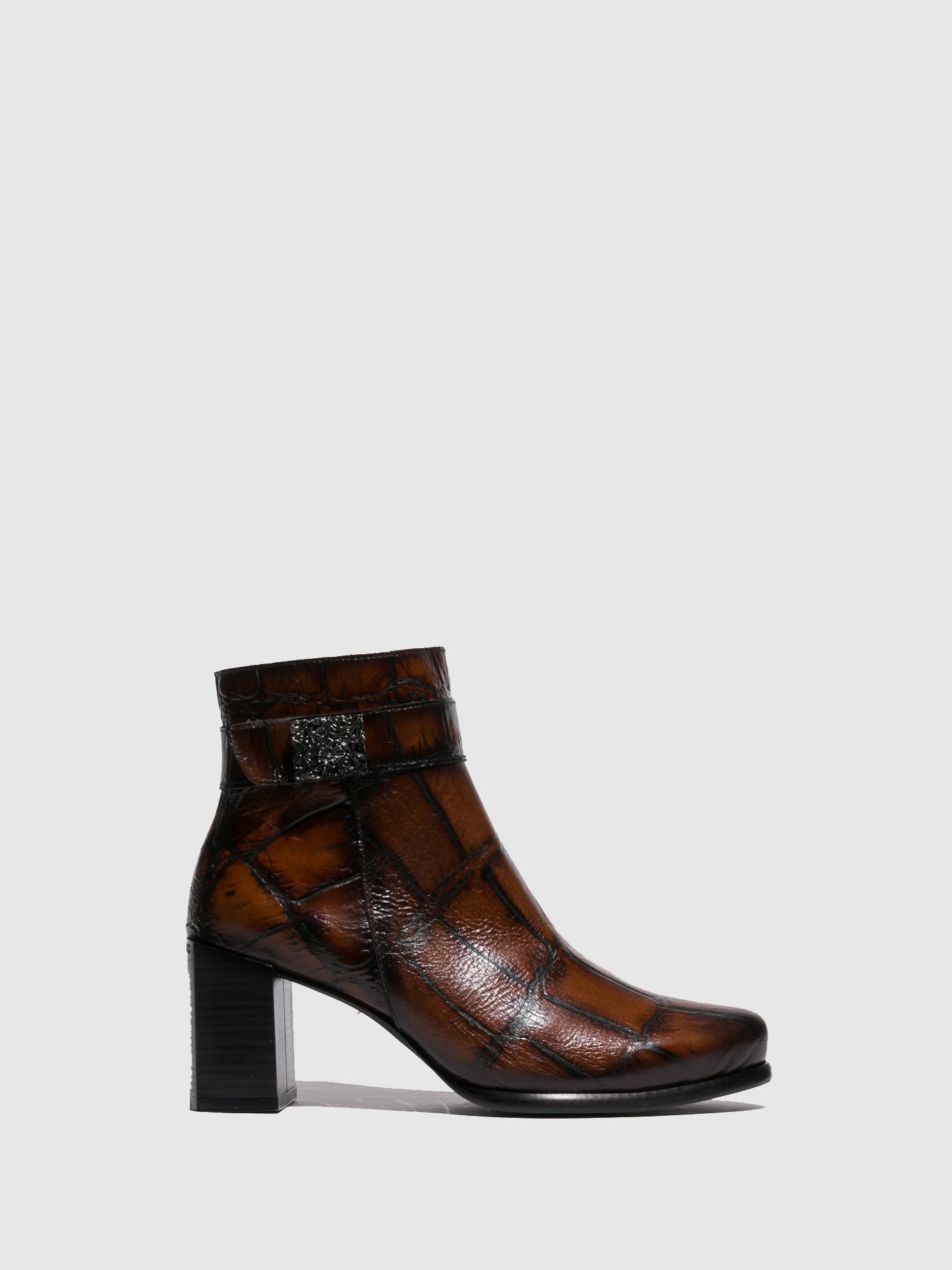 Jose Saenz Camel Zip Up Ankle Boots