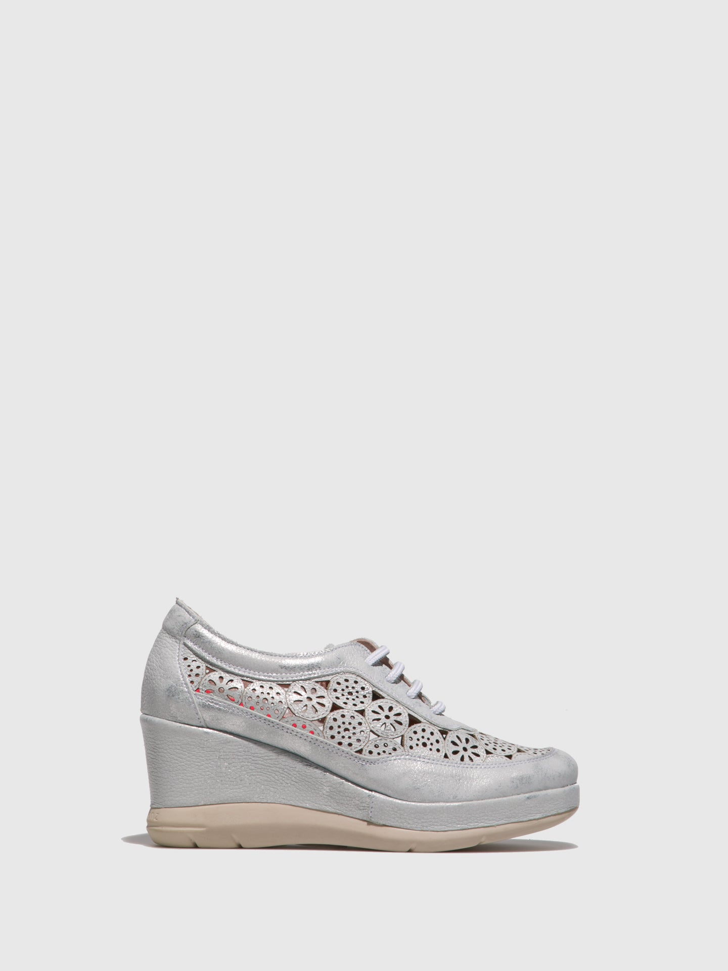 Jose Saenz Silver Wedge Shoes