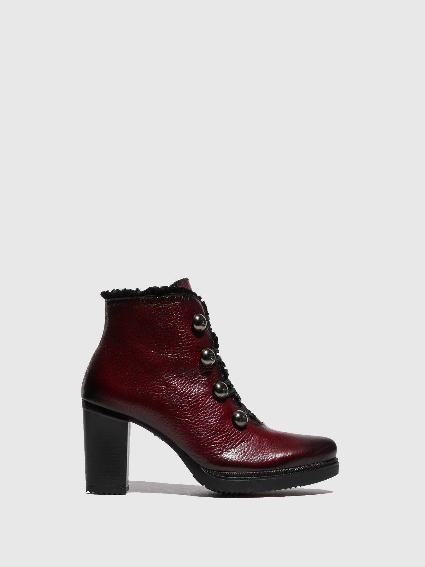 Jose Saenz Crimson Lace-up Ankle Boots
