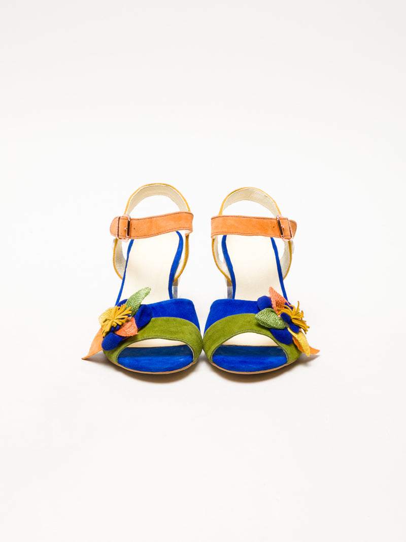 Multicolor Sling-Back Sandals