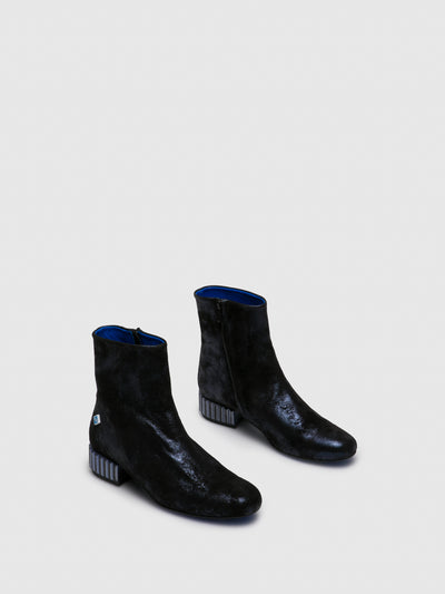 Lazuli Blue Zip Up Ankle Boots