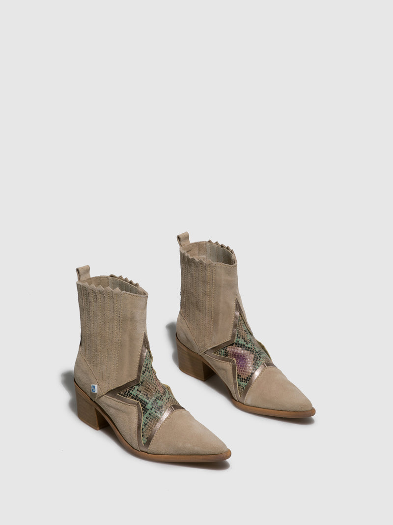 Beige Cowboy Ankle Boots