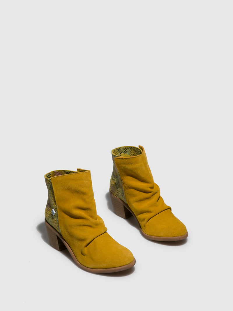 Yellow Round Toe Ankle Boots