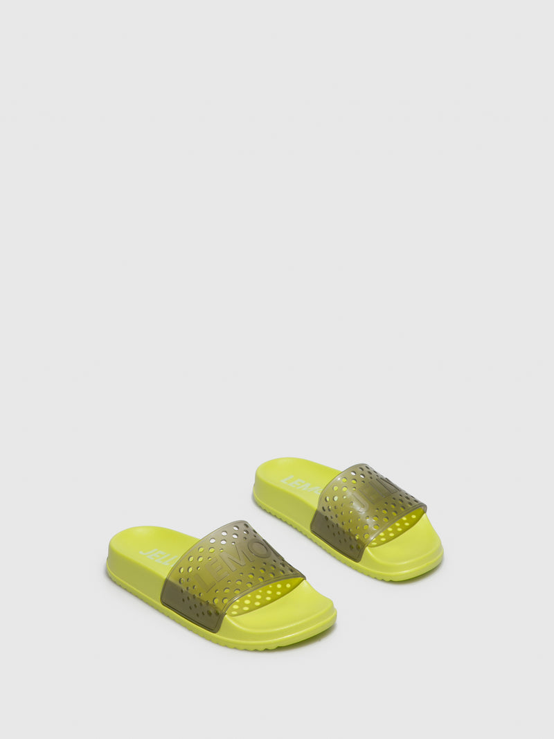 Lemon Jelly Black Open Toe Mules