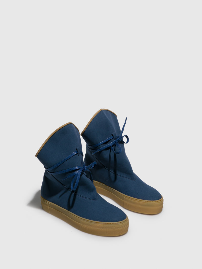 Blue Suede Buckle Boots