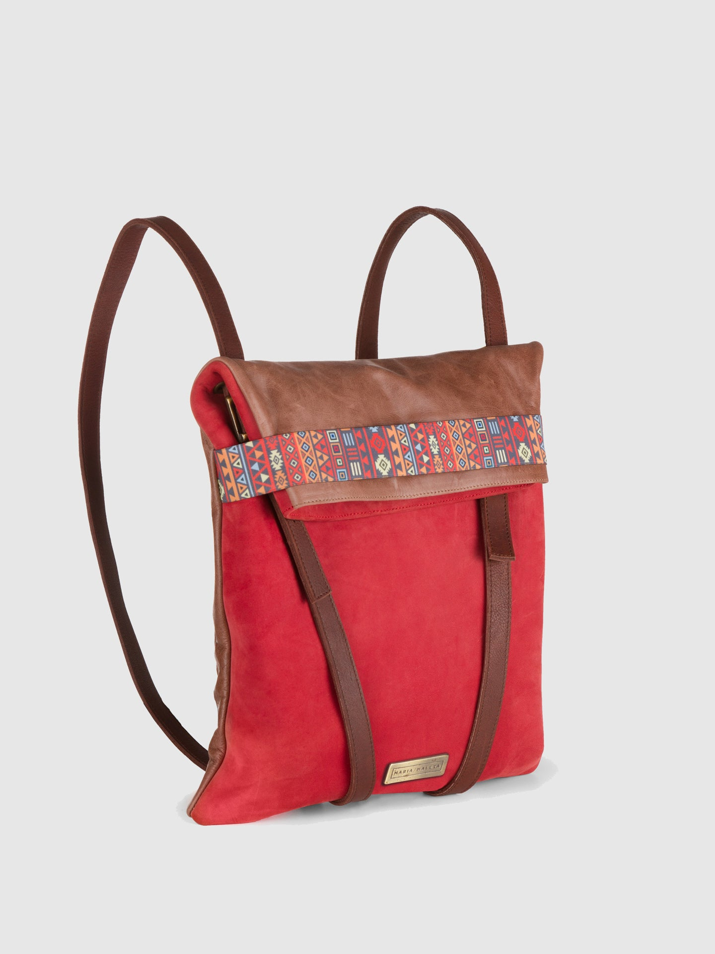 Maria Maleta Red Leather Reversible Backpack