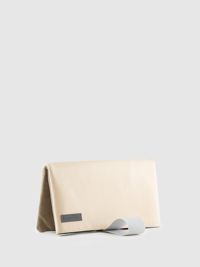 Maria Maleta Pale Pink and Gray Reversible Clutch Bag