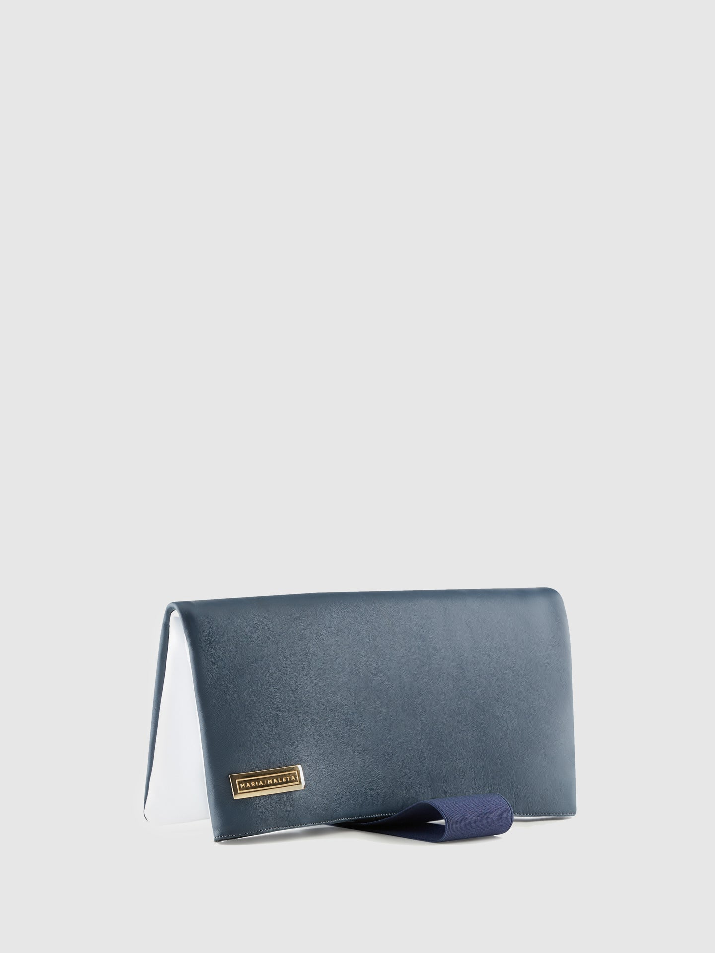 Maria Maleta Blue White Reversible Clutch Bag