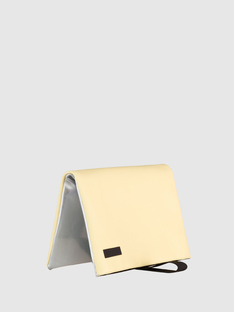 Maria Maleta Yellow and Holograpfic Reversible Clutch Bag