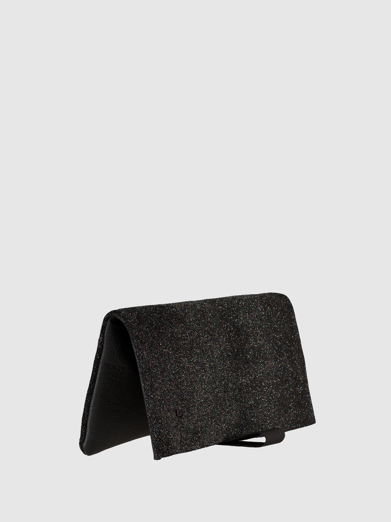 Maria Maleta Black and Glitter Reversible Clutch Bag