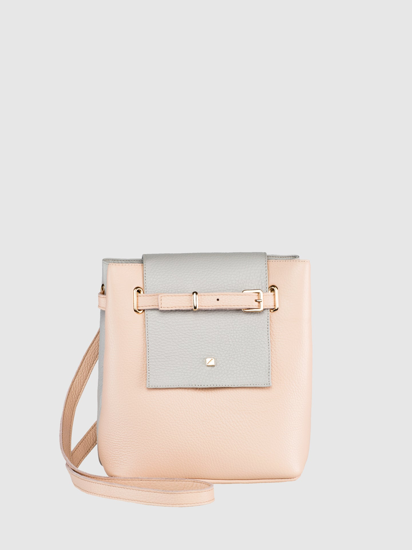Maria Maleta Pale Pink and Gray Crossbody Bag