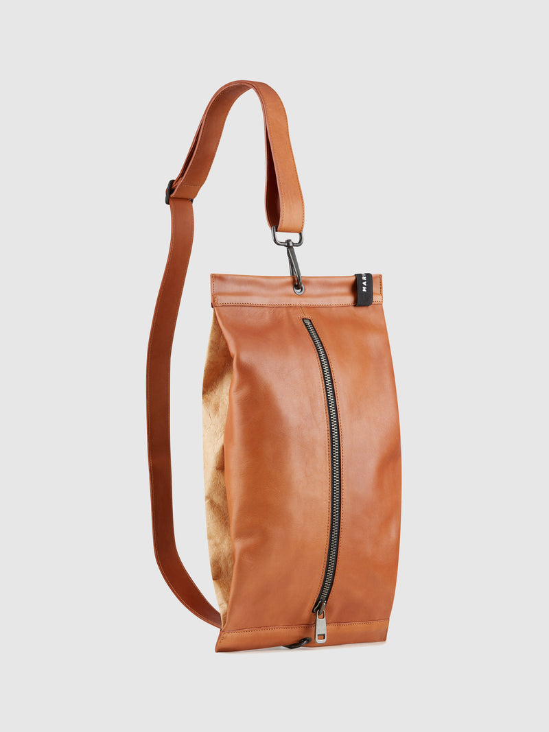 Maria Maleta Brown Leather Reversible Crossbody Bag
