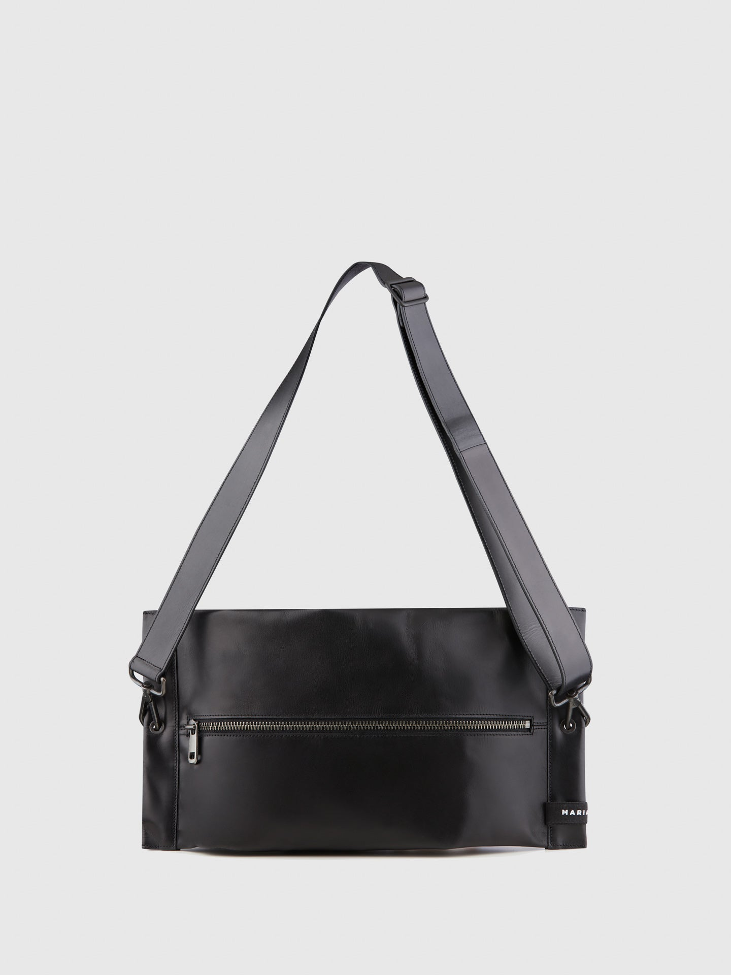 Maria Maleta Black Leather Reversible Crossbody Bag